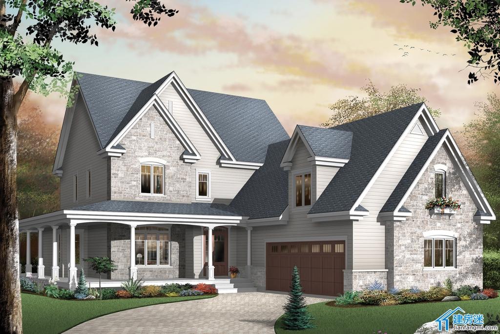 乡村田园风格自建房屋设计图,250平米两层双车库别墅效果图