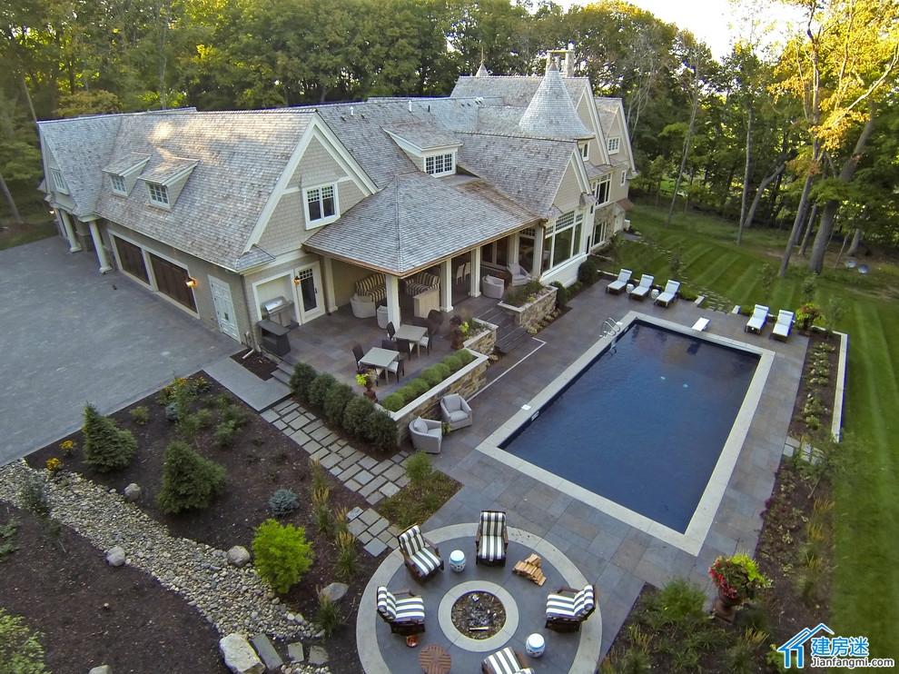 新农村自建房L型设计图,500平米以上美式别墅设计欣赏