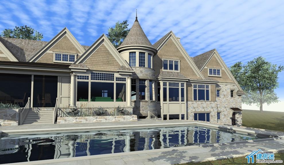 设计图 设计 新农村/新农村自建房L型设计图,500平米以上美式别墅设计欣赏