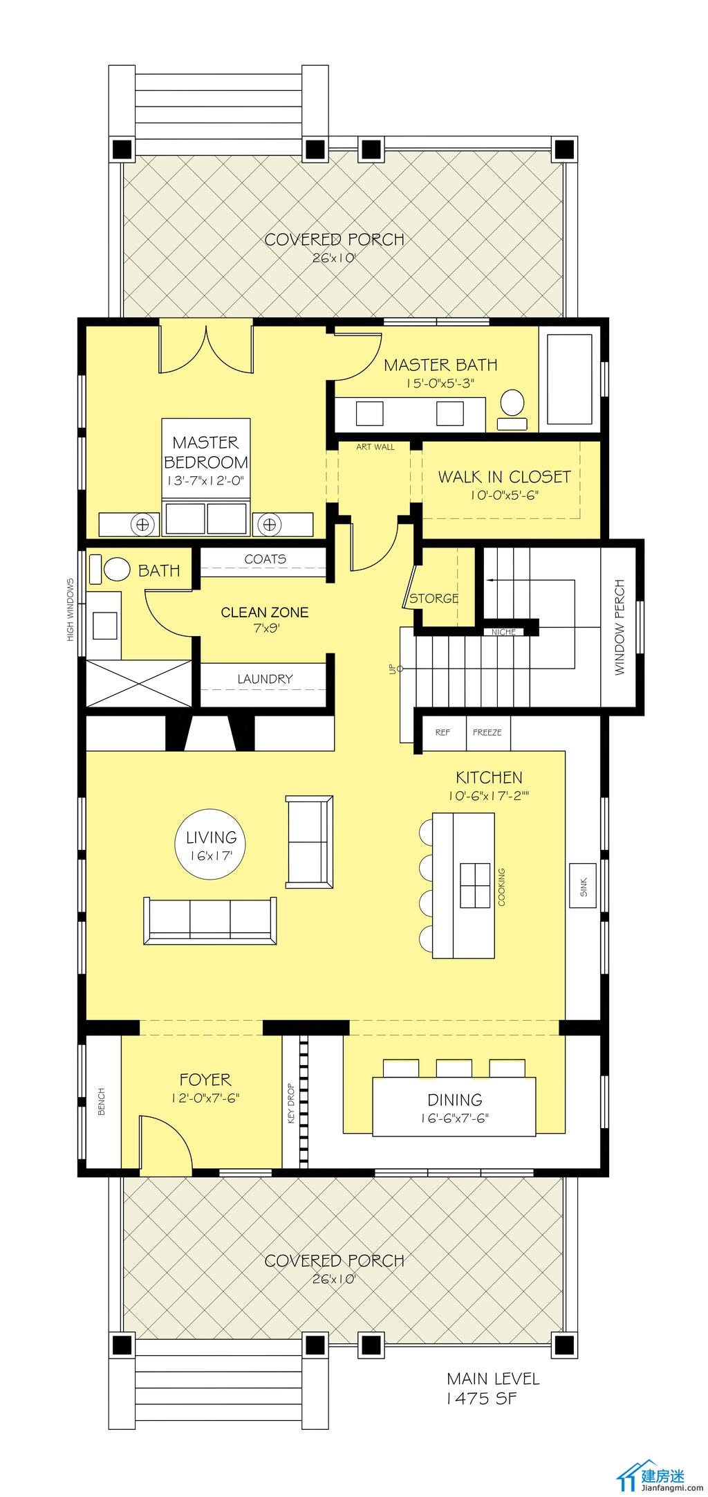 今天分享的这套别墅设计图算是比较清新的风格的。 图纸基本情况是面宽9米,深度18米,然后两层地面,地下一层的设计。 一楼的基本情况是主卧室,起居室,厨房以及餐厅。 二楼是两个房间,一个书房,另外比较有意思的是阳台可以摆两个室外的床。 下面我们一张一张来看这套别墅的设计图 一楼南面进门后是起居室,厨房以及餐厅,然后中间部分是公用的卫生间,以及楼梯,北面是主卧室以及主卫生间还有衣帽间  二楼整个主卧部分就是做成了外阳台的方式,然后中间是书房以及楼梯,南面就是两个客卧室。  新农村自建房设计图两层9米X18米带