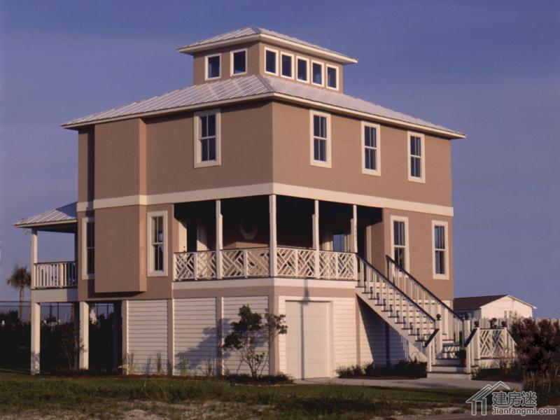 新农村自建房屋设计图纸两层半带架空层别墅9米X8米免费下载轻钢结