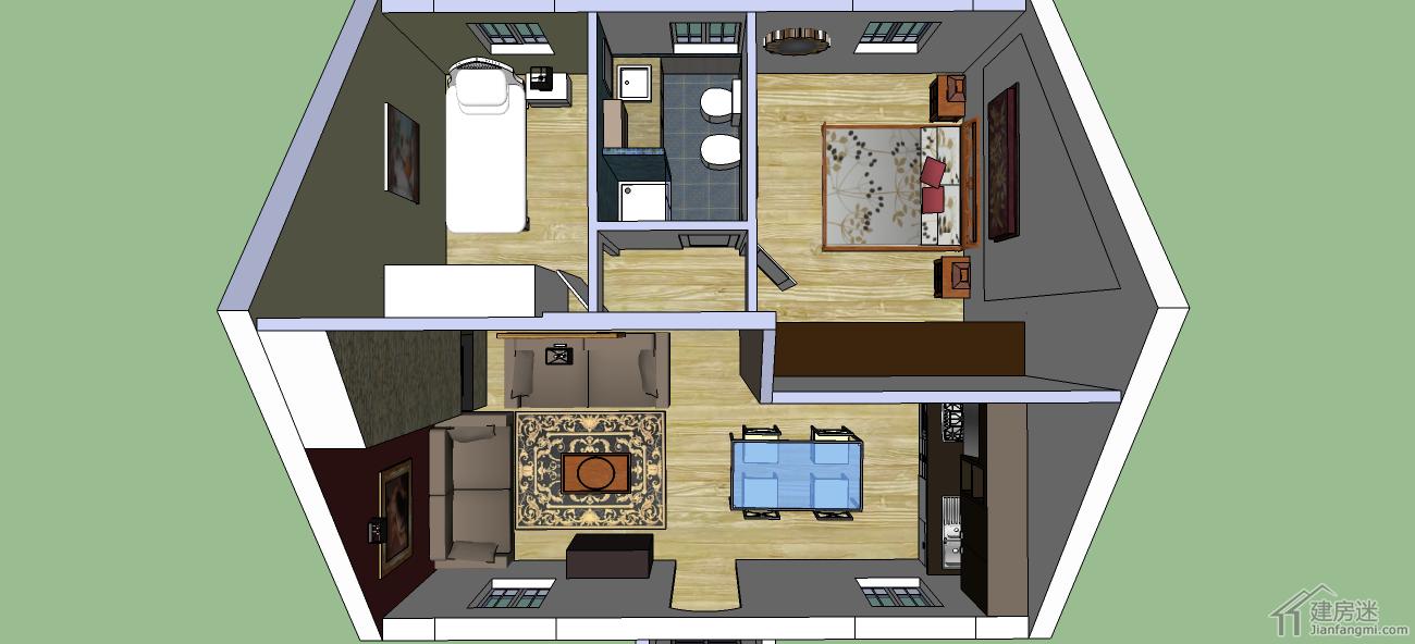 新农村自建房图纸免费下载小户型别墅两室带车库的设计图图片