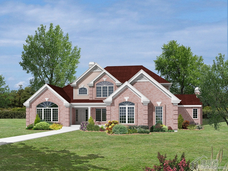 农村独栋别墅自建房设计图24米X21米两层美式风格