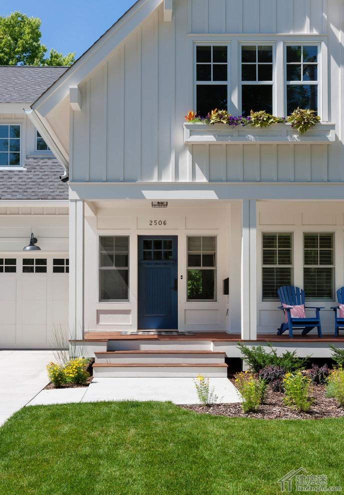 80平米小户型两层农村自建房别墅效果图适合轻钢轻木建造高清图片