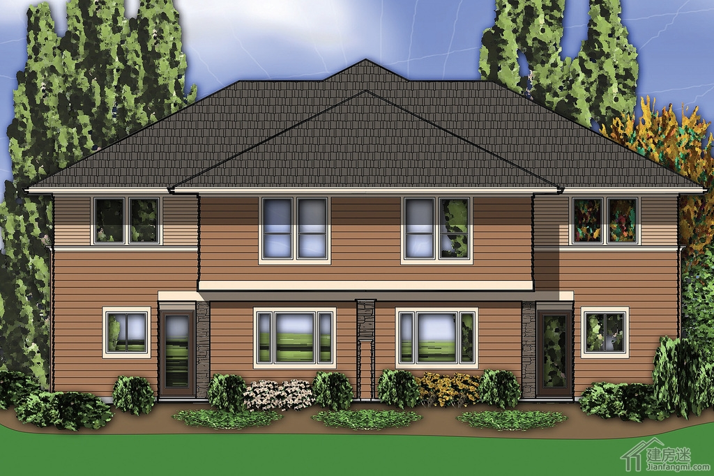农村自建房别墅18米X15米联排三层房屋设计图适合两兄弟合建