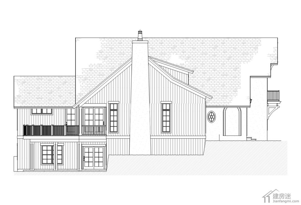 新农村自建房美式风格别墅设计图纸16米x20米两层三大间参