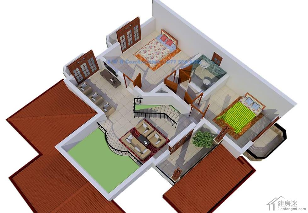 东南亚风格两层经济型小别墅设计图自建房10米x10米100平米参考
