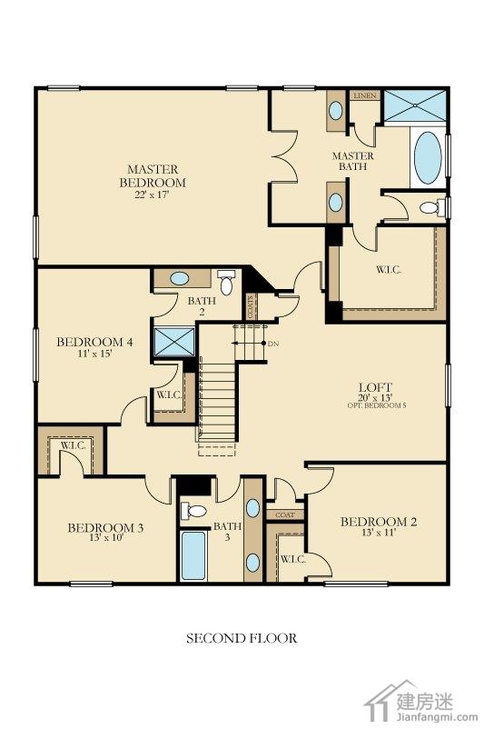 今天建房迷给大家分享这套农村自建房三大间两层12米X13米房屋设计图,一共有四个房间,四个卫生间,双车库,应该来说一般的家庭使用足够了,总的建筑面积在300平米左右,如果是用轻钢结构简单装修下来50万差不多。 下面我们来看看这套户型的具体细节图 先是外观,这一张是有扩展了来第三个车库的,大家如果有空间当作杂物间也不错