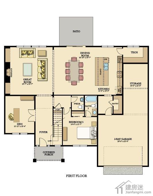 美式风格18米x10米两层房屋设计图土豪级别盖房参考