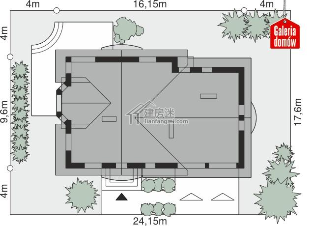 农村自建房二层欧式尖顶风格16米x9米别墅设计图150平米盖房参考