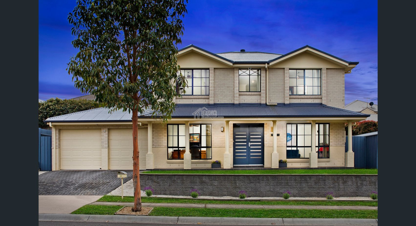 建房迷農村蓋房10米x8米三間兩層美式風格別墅設計圖帶平面圖