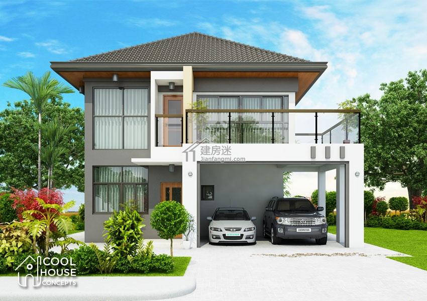 建房迷农村自建房简洁小户型8米x9米两层别墅设计图