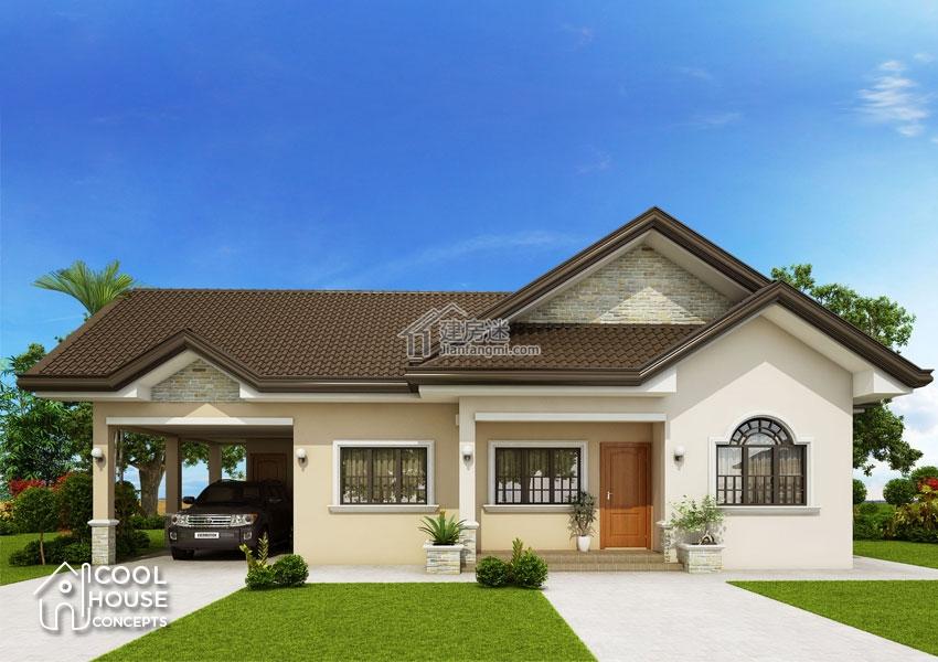 农村自建房一层带车库15米x10米150平米别墅设计图图片